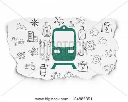 Travel concept: Train on Torn Paper background
