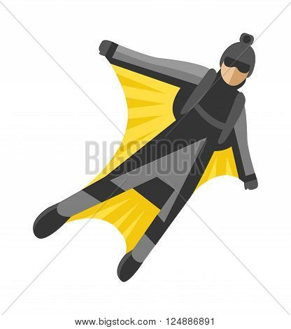 Wingsuit man jumping and wingsuit man active hobby. Wingsuit man flying man high risk flight air sport, man character. Wingsuit man jumper character skydiving flying suit man parachuting sport vector.