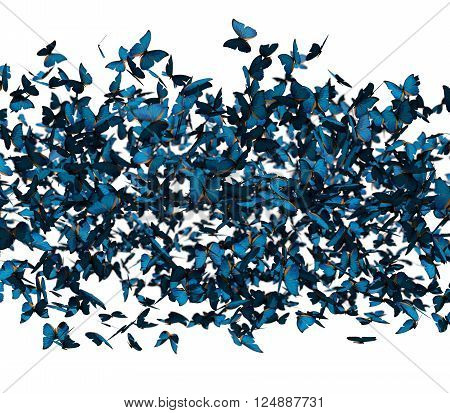 previously many blue butterflies on a white background. 3d render