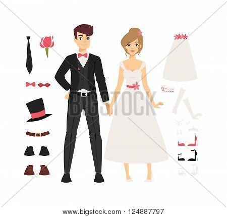 Wedding couple people vector illustration. Wedding couple isolated on white background. Wedding couple vector icon illustration. Wedding couple isolated vector. Wedding couple silhouette