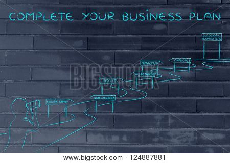 complete your business plan: entrepreneur looking through binoculars at the way to establish his own business successfully