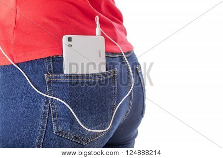 Girl listening to music in your phone. Silhouette on a white background.