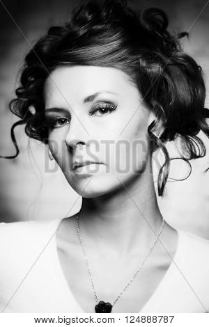 Black and white portrait of a beautiful girl