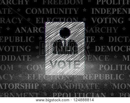 Politics concept: Ballot in grunge dark room