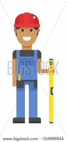 Building hand worker with ruler and professional carpentry worker with ruler. Industry building industrial job level board. Worker in hard hat measure with yellow ruler blue uniform character vector.