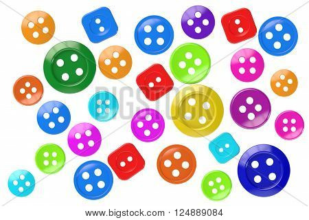 colored sewing buttons clothing 3D rendering isolated on white background