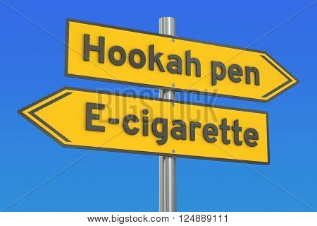 hookah pen vs e-cigarette 3D rendering on the signpost