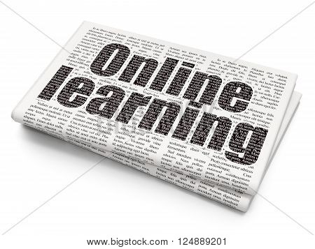 Education concept: Online Learning on Newspaper background