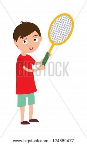 Sport tennis player and athletic tennis player with racket. Tennis player health racket sport leisure. Good looking tennis player prepared for active game, action sport competition cartoon vector.