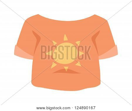 Graphic girls T-shirt design vector icon with sun isolated. T-shirt vector sport clothes. T-shirt vector fashion design. T-shirt vector cotton textile. Girls t-shirt vector cloth isolated.