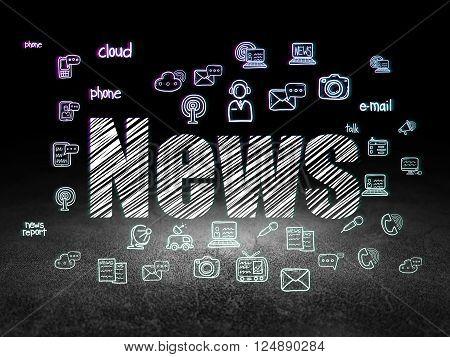 News concept: News in grunge dark room