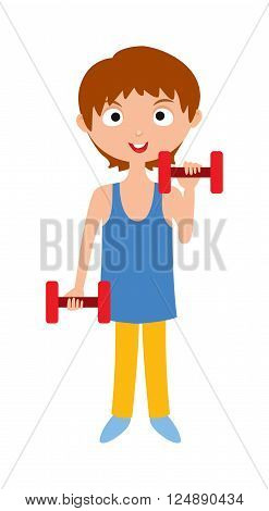 Girl with dumbbells fitness and attractive girl with dumbbells. Girl with dumbbells lifestyle energy athletic sport girl. Young girl with dumbbells healthy workout gym sport training cartoon vector.