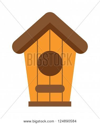 Nature handmade birds house and wooden nesting box. Safety nesting box, wildlife birds house. Handcrafted wooden hut with roof for birds, safe from cold and wind protection nesting box flat vector.