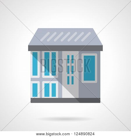 Front view of a store with a roof, door, showcase and shadow. Architecture, real estate agency. Commercial buildings. Flat color style vector icon. Web design element for site, mobile and business.