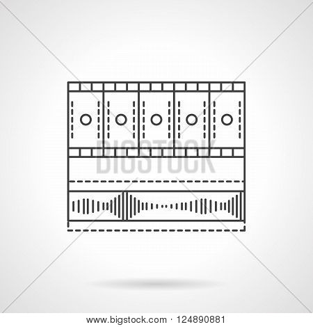 Video media bar. Entertainment technology. Video blog, social networks, video processing application. Flat line style vector icon. Single design element for website, business.