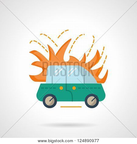 Green automobile in fire. Vehicles insurance accident. Car fire insurance. Flat color style vector icon. Web design element for site, mobile and business.