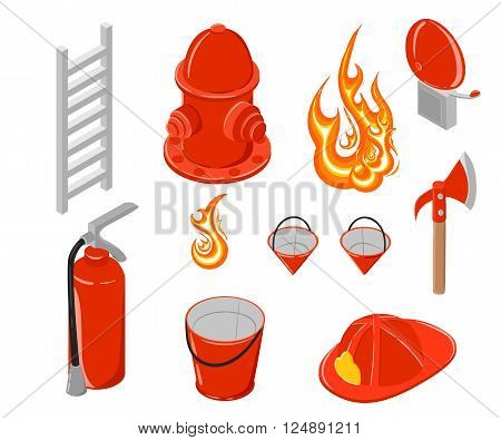 Isometric vector illustration of firefighting. Hook and hydrant. Firefighting collection. Elements for infographic.