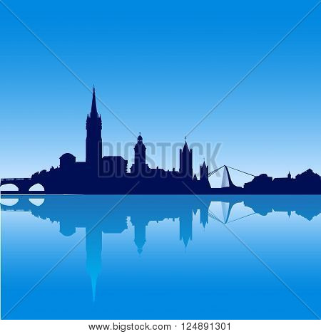 Dublin city skyline silhouette vector illustration with reflexion