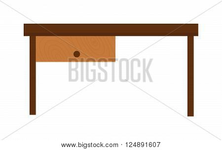 Brown wood table and school wood table. Grunge wood table and interior wood table accessory. Empty interior wood table. Wooden old brown table and wood desk surface retro flat vector isolated.