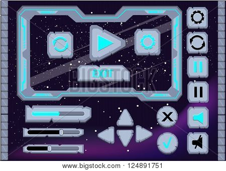 Interface game design user interface Interface buttons set for space games or apps ui.