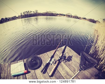 Retro Stylized Fisheye Lens Picture Of Fishing Tackle.
