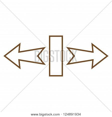 Stretch Arrows Horizontally vector icon. Style is thin line icon symbol, brown color, white background.