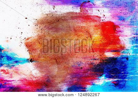 Copper powder on Copper Color Powder on  abstract color  background and fingerprints