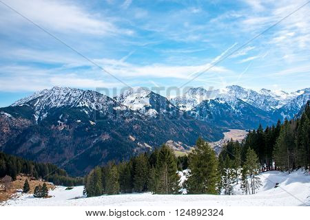 Amazing view of the German Alps in early spring