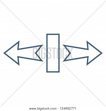 Stretch Arrows Horizontally vector icon. Style is outline icon symbol, blue color, white background.