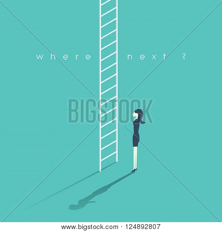 Business career concept with businesswoman and corporate ladder. Work promotion symbol. Woman standing at the beginning of a career to climb and get promotions. Eps10 vector illustration.