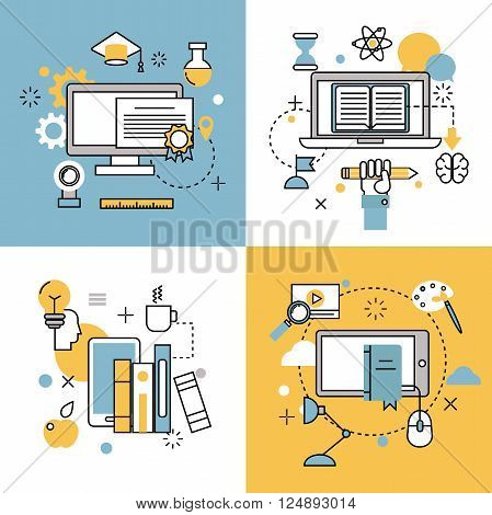 Online education thin outline icons vector set of distance education school and webinar education symbols. Online education flat style icons webinar online education. School, university