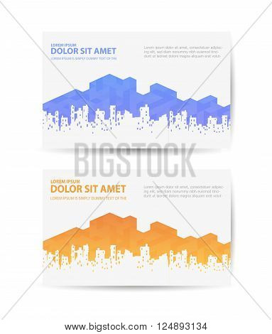 Business card with the urban landscape for real estate agencies or travel agencies