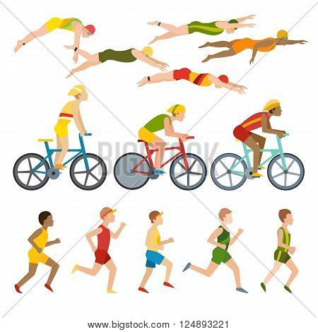 Triathlon, swimming, running and cycling triathlon. Swimming, running and triathlon cycling fitness sport. Triathlon athletes design stylized symbolizing competition race athlete man character vector.