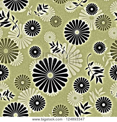 art vintage naive stylized geometric flowers colored seamless pattern, background in olive green, white and black colors
