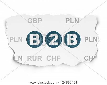 Business concept: B2b on Torn Paper background