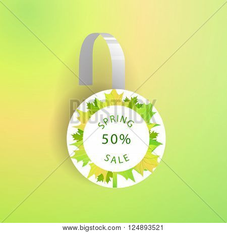 Vector wobbler mockup with transparent strip.Template for your hanging shelf tag design.Spring sale design for print.Maple Leaves.