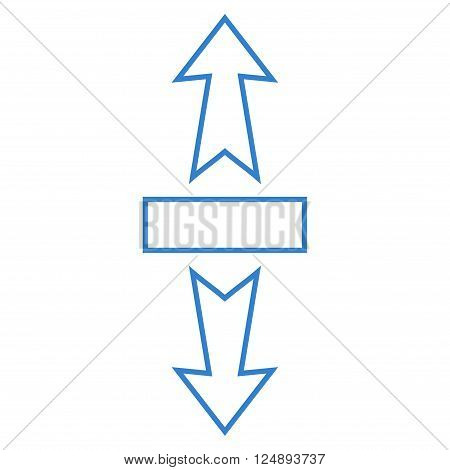 Stretch Arrows Vertically vector icon. Style is stroke icon symbol, cobalt color, white background.
