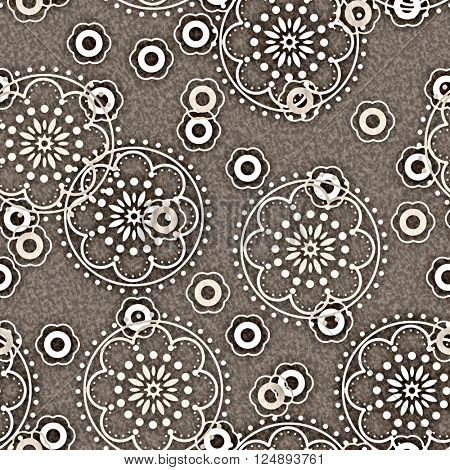art vintage naive stylized geometric flowers monochrome seamless pattern, background in  beige grey and white colors