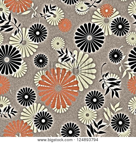 art vintage naive stylized geometric flowers seamless pattern, colored background