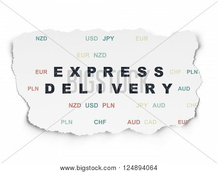 Finance concept: Express Delivery on Torn Paper background