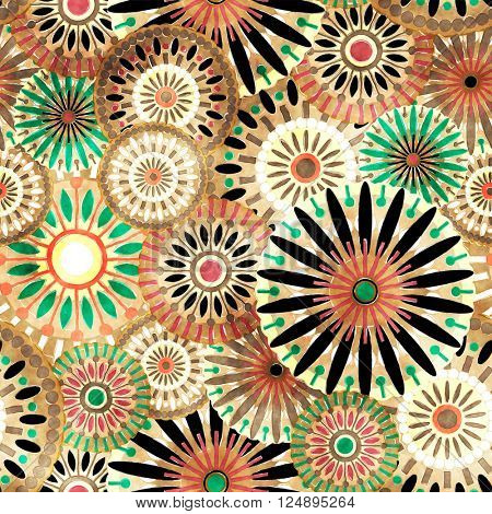 art vintage stylized geometric flowers seamless pattern, grunge colored background