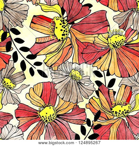 art vintage stylized flowers seamless pattern, background in red, orange, yellow, beige and black colors