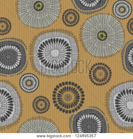 art vintage naive stylized geometric flowers colored seamless pattern, knitted background in old gold, white and black colors