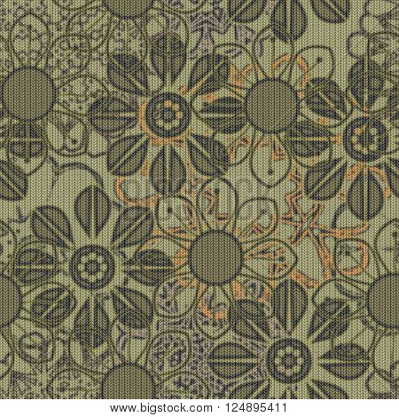 art vintage naive stylized geometric flowers colored seamless pattern, knitted background in olive, red and black colors