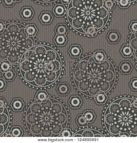 art vintage naive stylized geometric flowers monochrome seamless pattern, knitted background in  beige grey and white colors