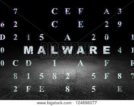 Security concept: Malware in grunge dark room