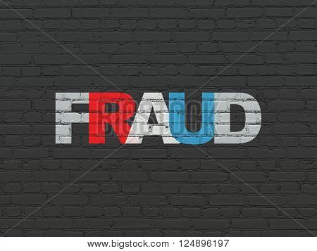 Protection concept: Fraud on wall background