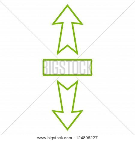 Stretch Arrows Vertically vector icon. Style is stroke icon symbol, eco green color, white background.