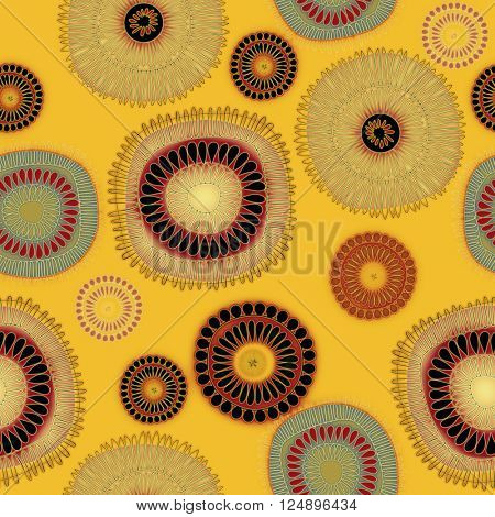 art vintage naive stylized geometric flowers colored seamless pattern, background in orange gold, red and black colors