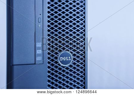 LONDON UNITED KINGDOM - JUNE 30 2014: Dell Precision Computers powerful workstation as seen on Jun 30 2014. Dell workstations machines come configured as tower rack-mounted or notebooks for diverse industries ranging from audio and video production to min